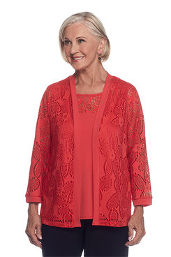 Saratoga Springs Petite Mesh Two For One Top