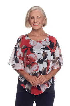 Saratoga Springs Plus Floral Overlay Top