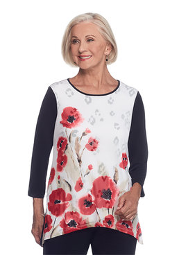 Saratoga Springs Plus Watercolor Floral Top