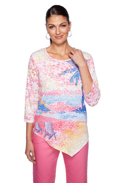 Image: Scenic Printed Three-Quarter Sleeve Top