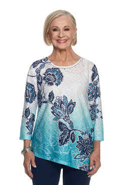 Scenic Route Diagonal Batik Floral Top