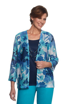 Scenic Route Floral Herringbone Two for One Top