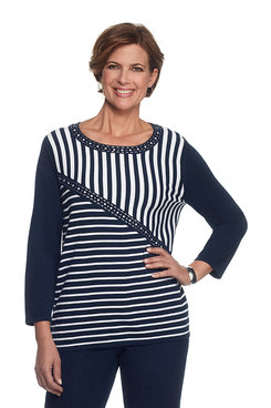 Scenic Route Petite Spliced Stripe Sweater