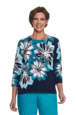Scenic Route Plus Linear Floral Print Sweater