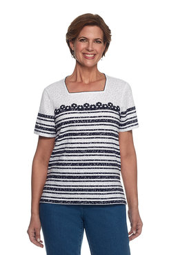 Seas The Day Petite Daisy Stripe Burnout Top