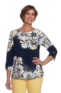Seas The Day Petite Daisy Yoke Tunic Top