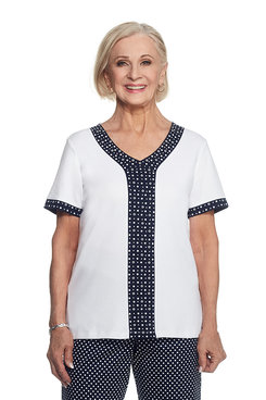 Seas The Day Petite Dot Center Spliced Top