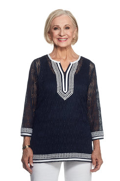 Seas The Day Plus Constrast Lace Tunic