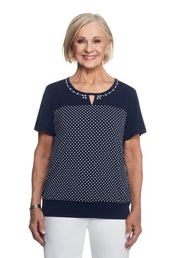 Seas The Day Spliced Print Dot Top
