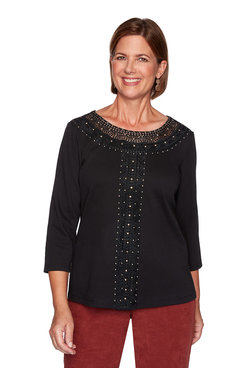 Image: Solid Center Crochet Knit Top