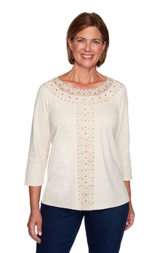 Image: Solid Center Crochet Top