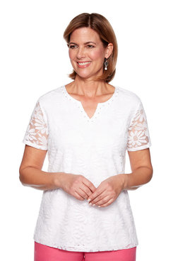 Image: Solid Lace Knit Top