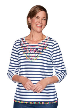 Image: Stripe Embroidered Yoke Top