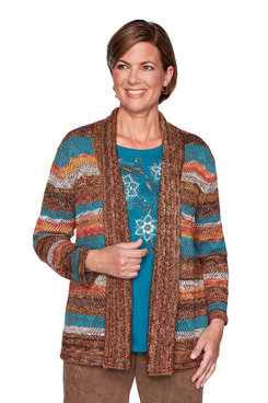 Image: Stripe Pointelle Cardigan