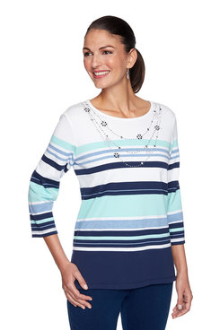 Image: Stripe Top With Beaded Necklace