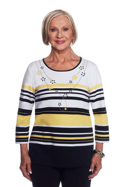 Striped Top with Necklace Detail