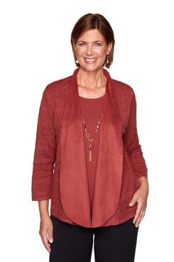 Image: Suede Trim Pointelle Two-For-One Sweater