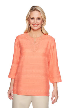 Image: Texture Lace Neck Tunic