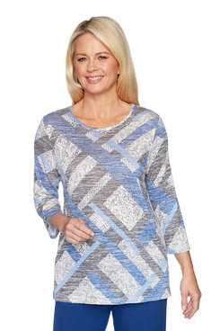 Image: Textured Melange Patchwork Top