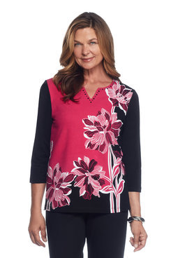 Theater District Asymmetric Floral Top