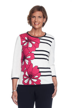 Theater District Petite Floral Graphic Stripe Sweater