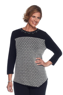 Theater District Petite Lace Asymmetric Tunic