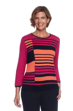Theater District Plus Stripe Colorblock Sweater