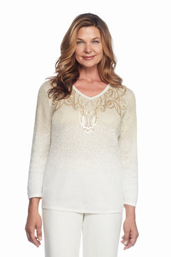 Tis The Season Plus Ombre Glitter Scroll Yoke Top