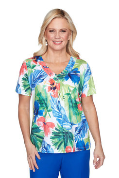 Image: Watercolor Tropical Short Sleeve Top