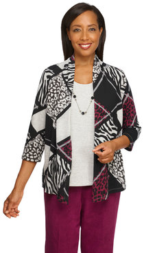 Image: Women's Animal Print Patchwork Two-For-One Lightweight Knit Top