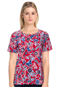 Image: Women's Casual Floral Butterfly Print Short Sleeve Knit Top