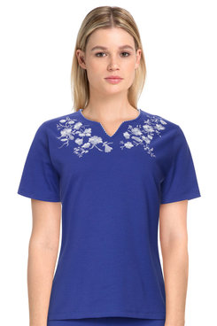 Image: Women's Casual Floral Embroidered Short Sleeve Soft Knit Top