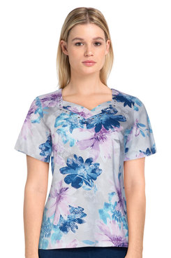 Image: Women's Casual Floral Print Lattice Neck Soft Knit Short Sleeve Top