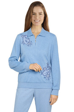 Image: Women's Comfort Asymmetric Floral Paisley Knit Pullover