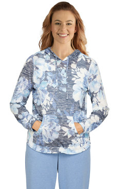 Image: Women's Comfy Floral Knit Hoodie Pullover Top