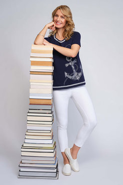 Image: Women's Floral Anchor Embroidery Short Sleeve Top