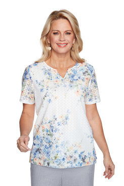 Image: Women's Floral Body-Line Short Sleeve Knit Top