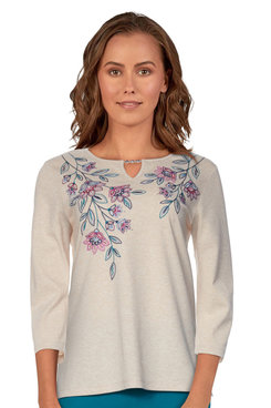 Image: Women's Floral Embroidered Soft Knit Keyhole Top