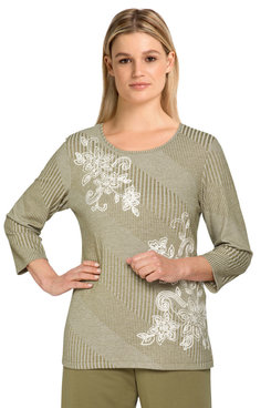 Image: Women's Floral Embroidered Soft Ribbed Knit Top