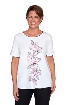 Image: Women's Floral Embroidery Short Sleeve Top