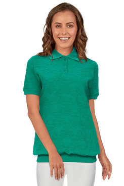 Image: Women's Floral Jacquard Short Sleeve Ribbed Trim Pullover Top