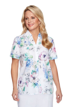 Image: Women's Floral Striped Button-Down Shirt