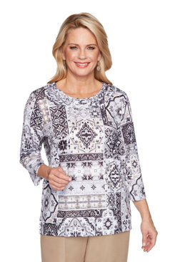 Image: Women's Medallion Patch Print Top