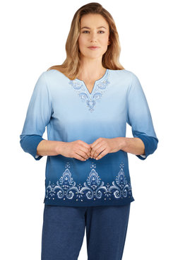 Image: Women's Ombre Scroll Embroidery Split Neck Top