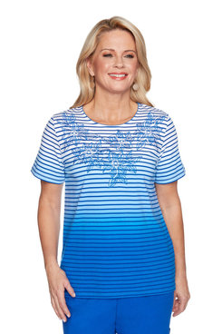 Image: Women's Ombre Striped Short Sleeve Top