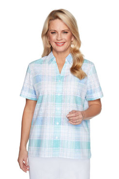 Image: Women's Plaid Short-Sleeve Button-Down Shirt