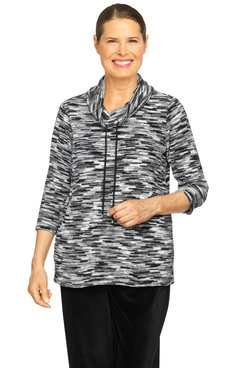 Image: Women's Soft Chenille Space Dye Cowl Neck Pullover