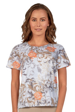 Image: Women's Soft Scroll Floral Knit Short Sleeve Top