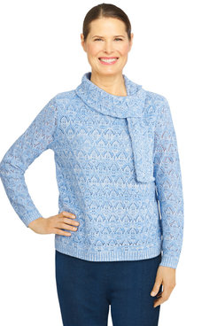 Image: Women's Solid Scarf Sweater