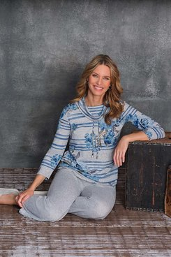 Image: Women's Striped Floral Cowl Neck Knit Top